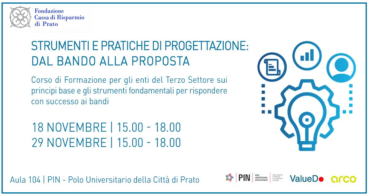 corso progettazione per Terzo Settore della Provincia di Prato arco PIN valuedo Coworking 91 C
