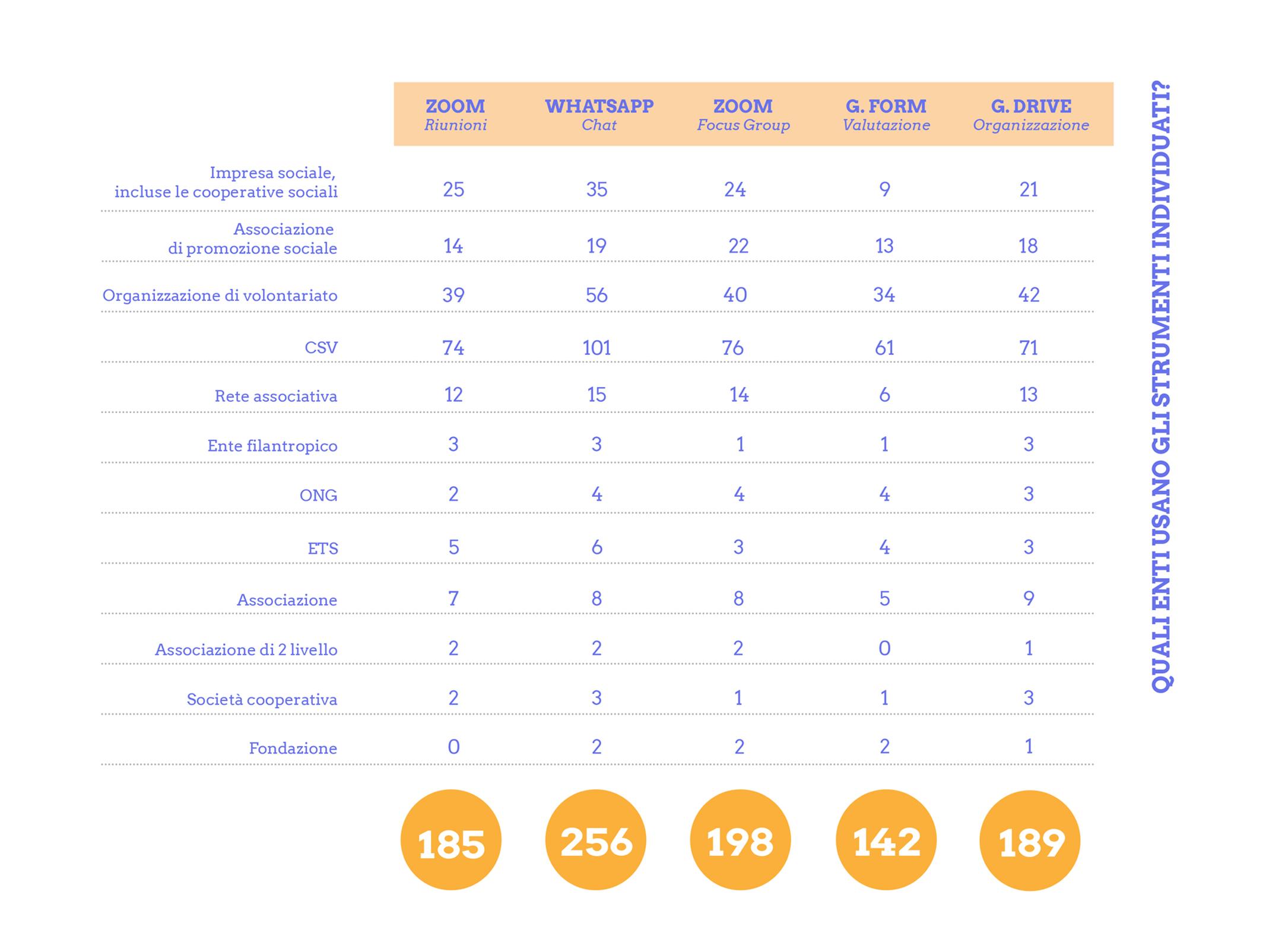 distribuzione di frequenza strumenti maggiormente usati lavoro a distana da remoto SEVERE terzo settore questionario raccolta dati nazionale